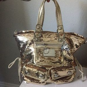 Coach Poppy Gold Spotlight Sequin Handbag Tote